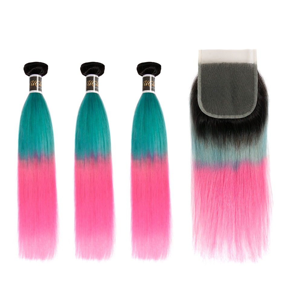 Uglam Hair Bundles With 4x4 Swiss Lace Closure Ombre Blue Coral and Baby Pink Color Straight